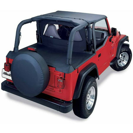 Bestop 90019-15 Jeep Wrangler with Factory Top Bows Folder Down Duster Deck Cover, Black Denim