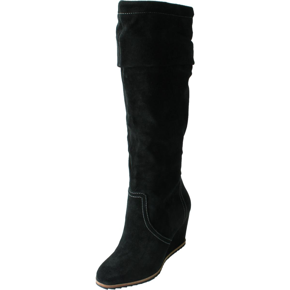 dr scholl s womens inka suede knee high wedge boots