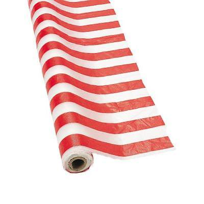 IN-3/2332 Red & White Striped Tablecloth Roll 100 ft