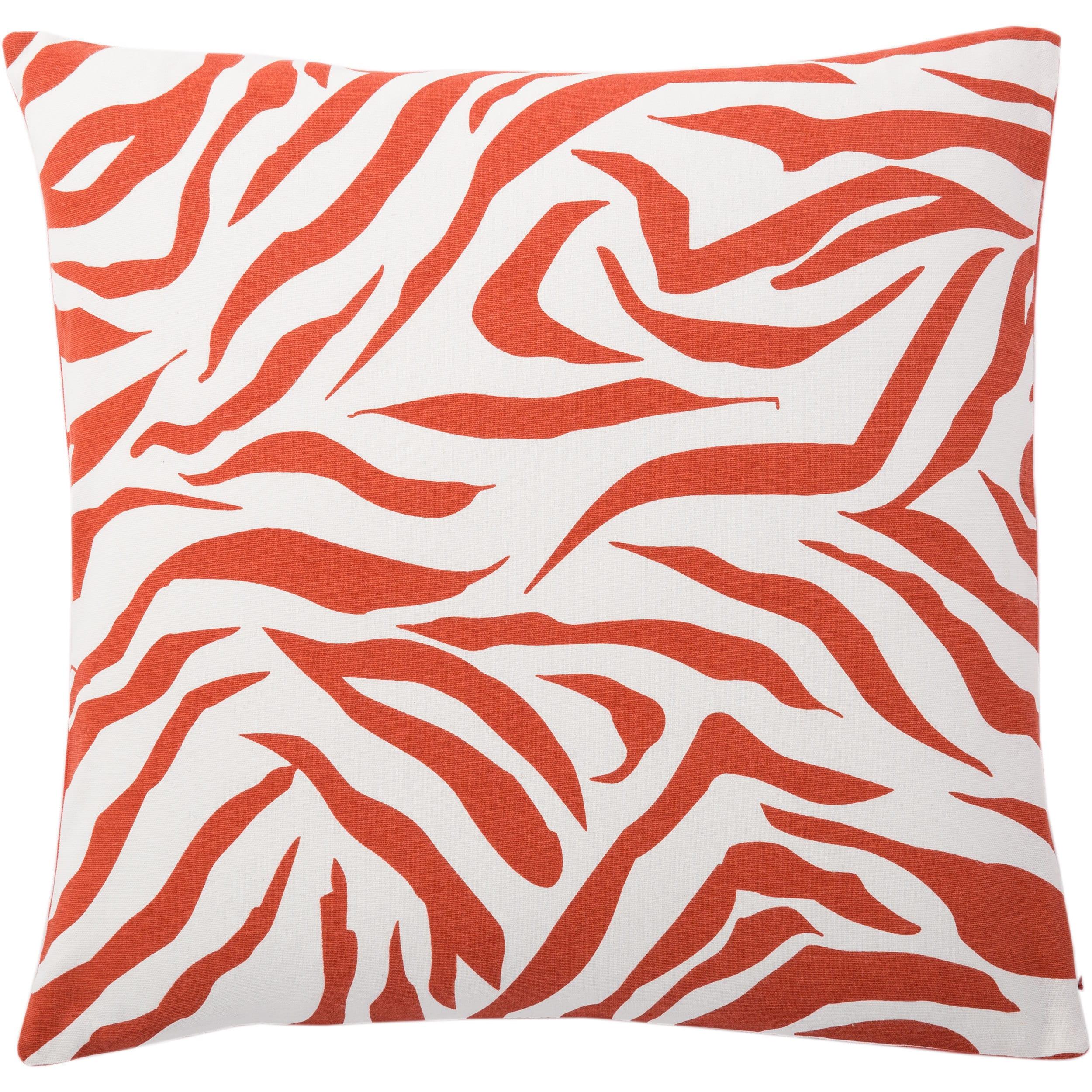 "Rizzy Home Decorative Poly Filled Throw Pillow Zebra Print 20""X20"" Orange"