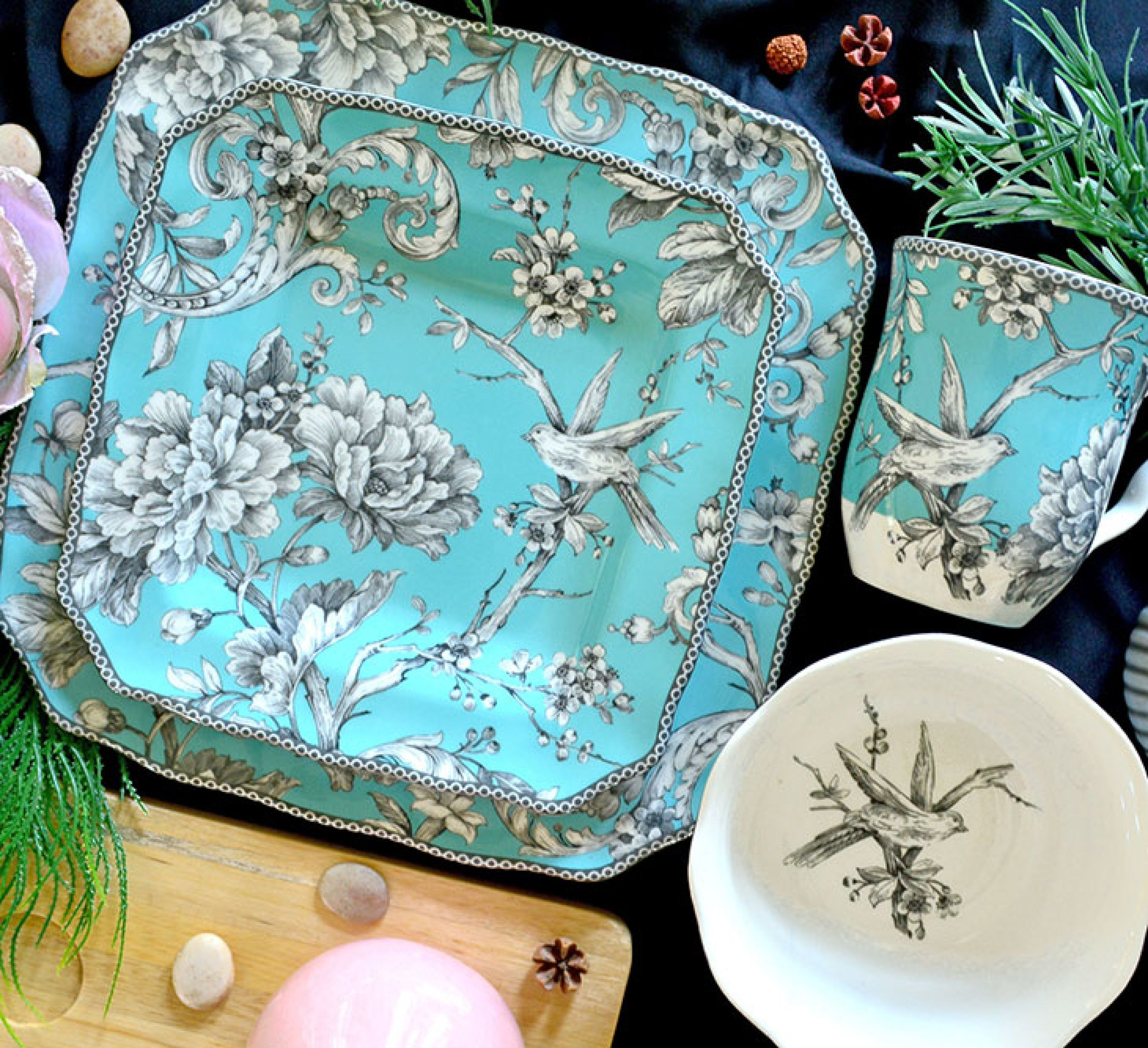 222 Fifth Adelaide Turquoise 16 Piece Dinnerware Set Walmart