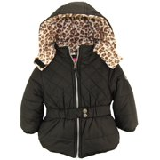Pink Platinum Little Girls Quilted in Cheetah Winter Puffer Jacket Coat