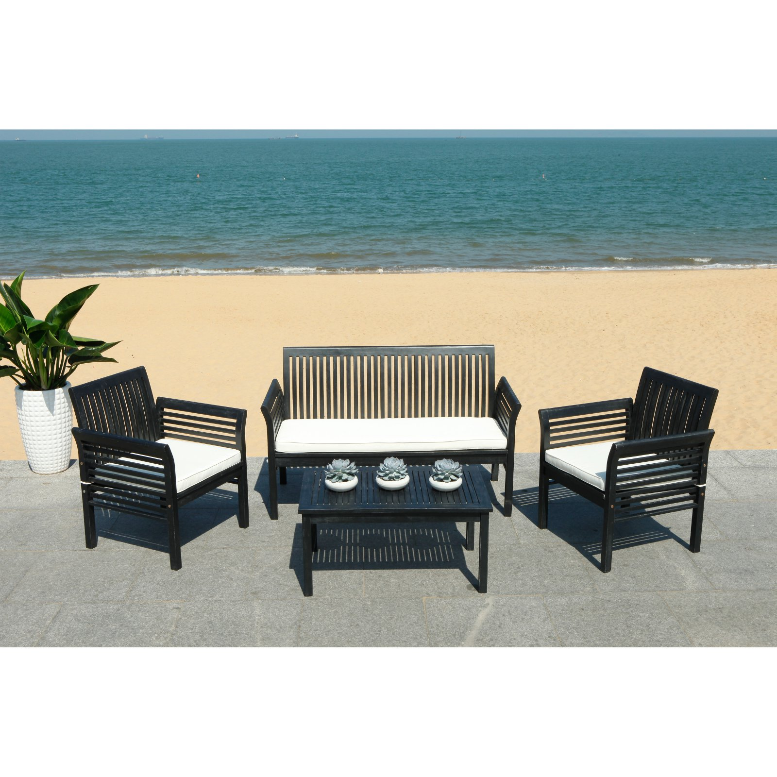 Safavieh Rocklin Outdoor Contemporary 4 Piece Living Set with Cushion