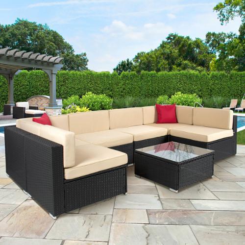 7pc Outdoor Patio Garden Wicker Furniture Rattan Sofa Set Sectional Black