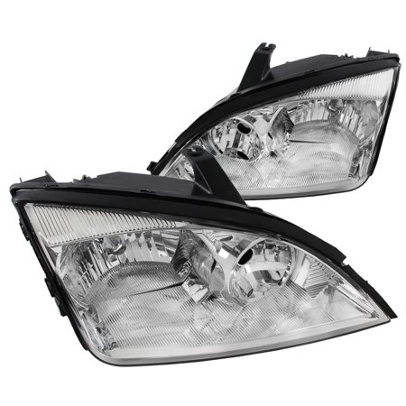 Spec-D Tuning For 2002-2007 Ford Focus Crystal Headlights Chrome Head Lamps Pair 2005 2006 2007 (Left+Right) 2006 Chrome Headlights Trim