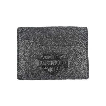 Harley-Davidson Men's B&S Embossed Front Pocket Leather Wallet XML3590-BLACK, Harley Davidson Alligator Embossed Front Pocket