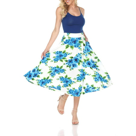 Women's Floral Printed Midi Skirt All Over Floral Embroidered Skirt