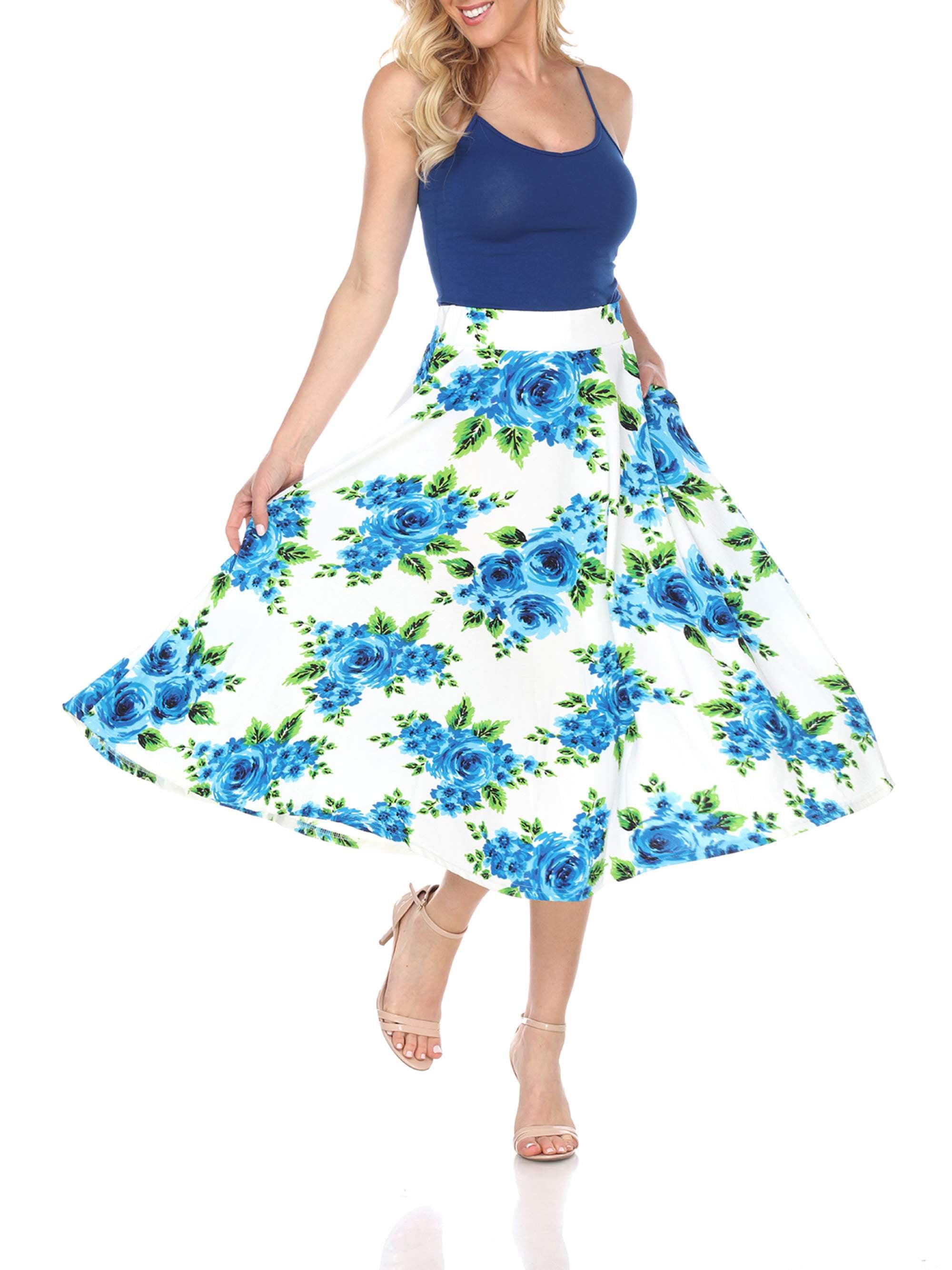 Women's Floral Printed Midi Skirt
