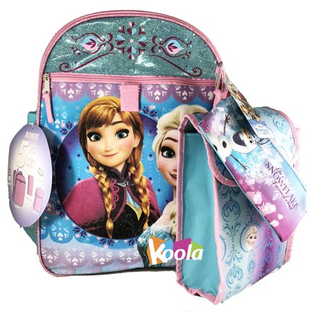 Frozen Girl Elsa Backpack and Lunch Bag - 5pc School Essentials Set