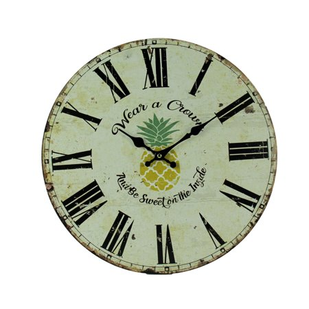 Vintage White Tropical Pineapple Wear a Crown Wall Clock