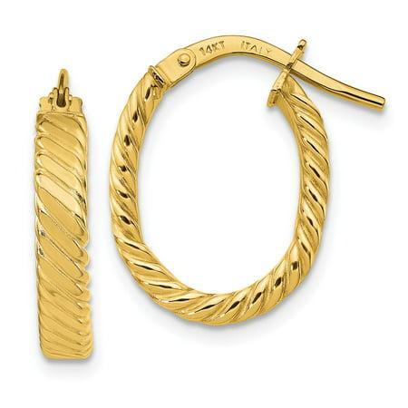 - 14K Yellow Gold Patterned Oval Hoop Earrings (19mm x 15mm)