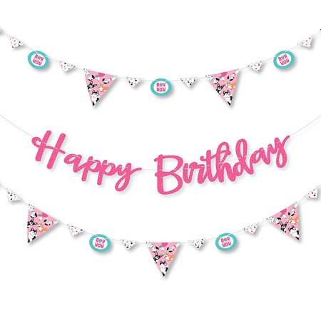 Pawty Like a Puppy Girl - Pink Dog Birthday Party Letter Banner Decoration - 36 Banner Cutouts and Happy Birthday Banner Letters - Puppy Birthday Decorations