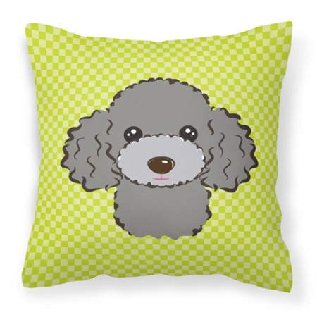 Carolines Treasures Checkerboard Lime Green Silver Gray Poodle Square Decorative Outdoor Pillow - Gray Poodle