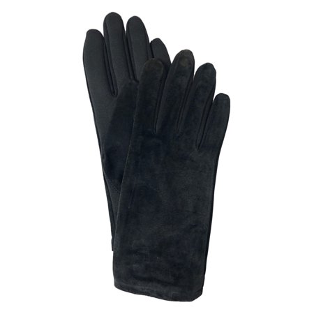 Isotoner Womens Spandex Gloves (Isotoner Womens Black Suede Leather & Spandex Stretch Fit Gloves Fleece Lined )