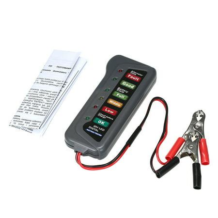 6-LED Display Digital Battery Alternator Tester Battery Tester Battery Level Monitor For Car Motorcycle Trucks 12V