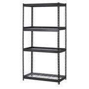"""Muscle Rack 36""""W x 18""""D x 60""""H 4-Shelf Heavy-Duty Steel Shelving Unit, 3200 lb Capacity, Black"""
