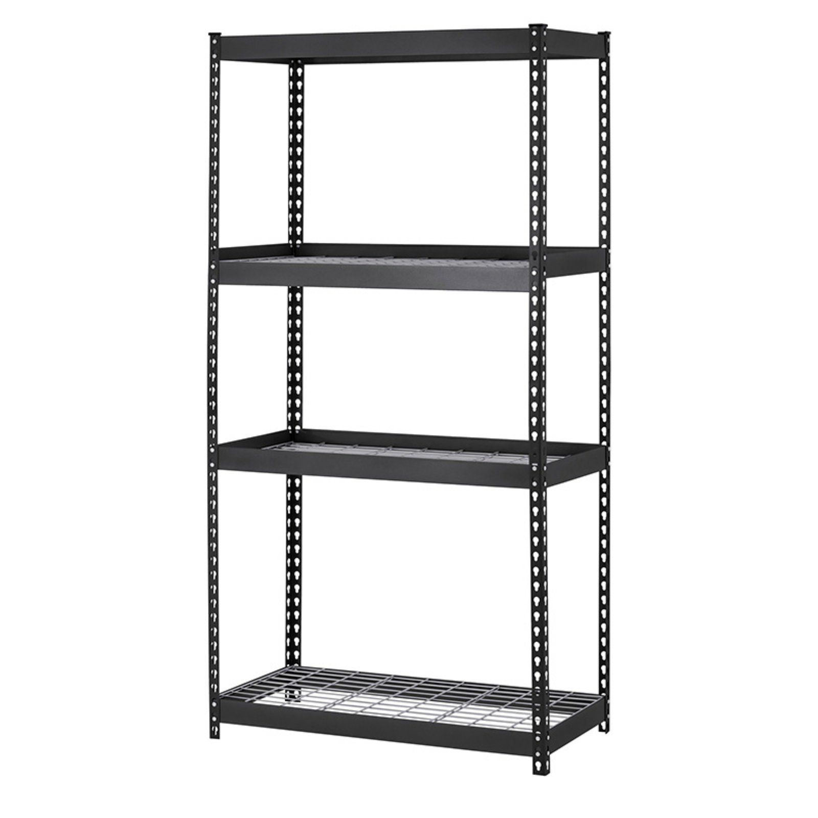 "Muscle Rack 36""W x 18""D x 60""H Four-Shelf Heavy-Duty Steel Shelving Unit, Black"