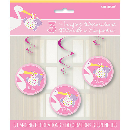 Pink Stork Baby Shower Hanging Swirl Decorations, 3pk