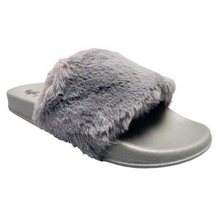4c64a1a9874 Shop Pretty Girl - Womens Slippers Faux Fur Slides Ladies Flip Flop ...