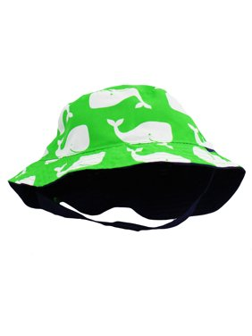 Little Me Baby Sun Hat Reversible Green Whale Solid Navy Infant Boys Bucket Hat 12-24 Months