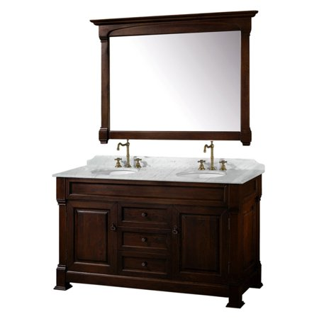 Wyndham Collection Andover 60 inch Double Bathroom Vanity in Dark Cherry, White Carrera Marble Countertop, Undermount Oval Sinks, and 56 inch Mirror