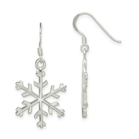 Solid 925 Sterling Silver Snowflake Dangle Earrings (20mm x 39mm)