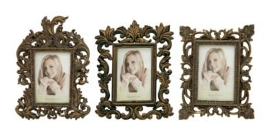 Woodland Imports 3 Piece Polystone Picture Frame Set; Gold by Benzara