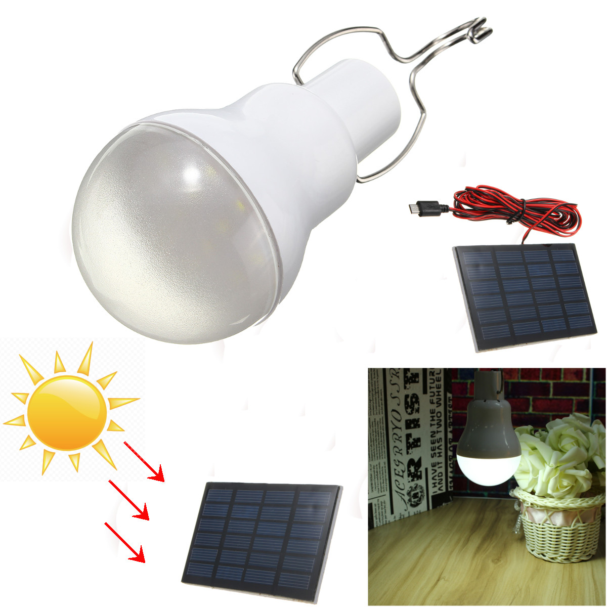 60W Solar Panel Powered LED Bulb Light Portable Outdoor Camping Energy Lamp