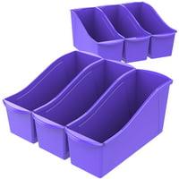 Storex Large Book Holder Bin, Classroom Blue, 6-Pack