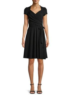 Attitude Unknown Women's Cap Sleeve Wrap Front Dress
