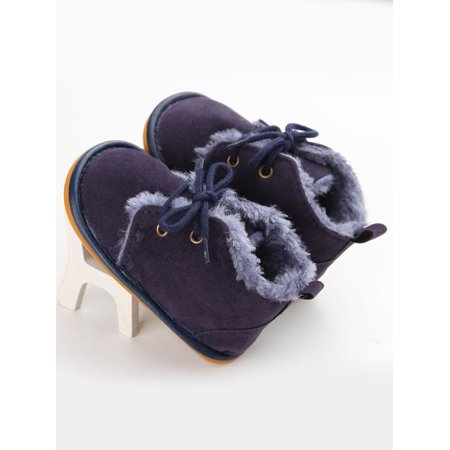 Lavaport Newborn Infant Boys Girls Lace-up Shoes Frist Walkers Autumn Warm Winter Baby Shoes