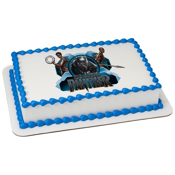 Wondrous Marvel Black Panther Wakanda Warriors 1 4 Sheet Custom Cake Personalised Birthday Cards Bromeletsinfo