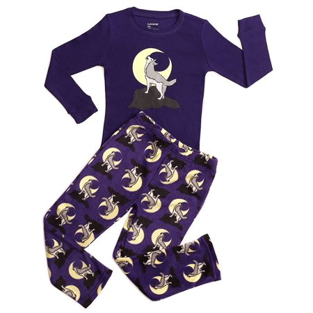 Leveret Fleece & Cotton 2 Piece Pajama Set Wolf 10 Years](Peace Fleece)