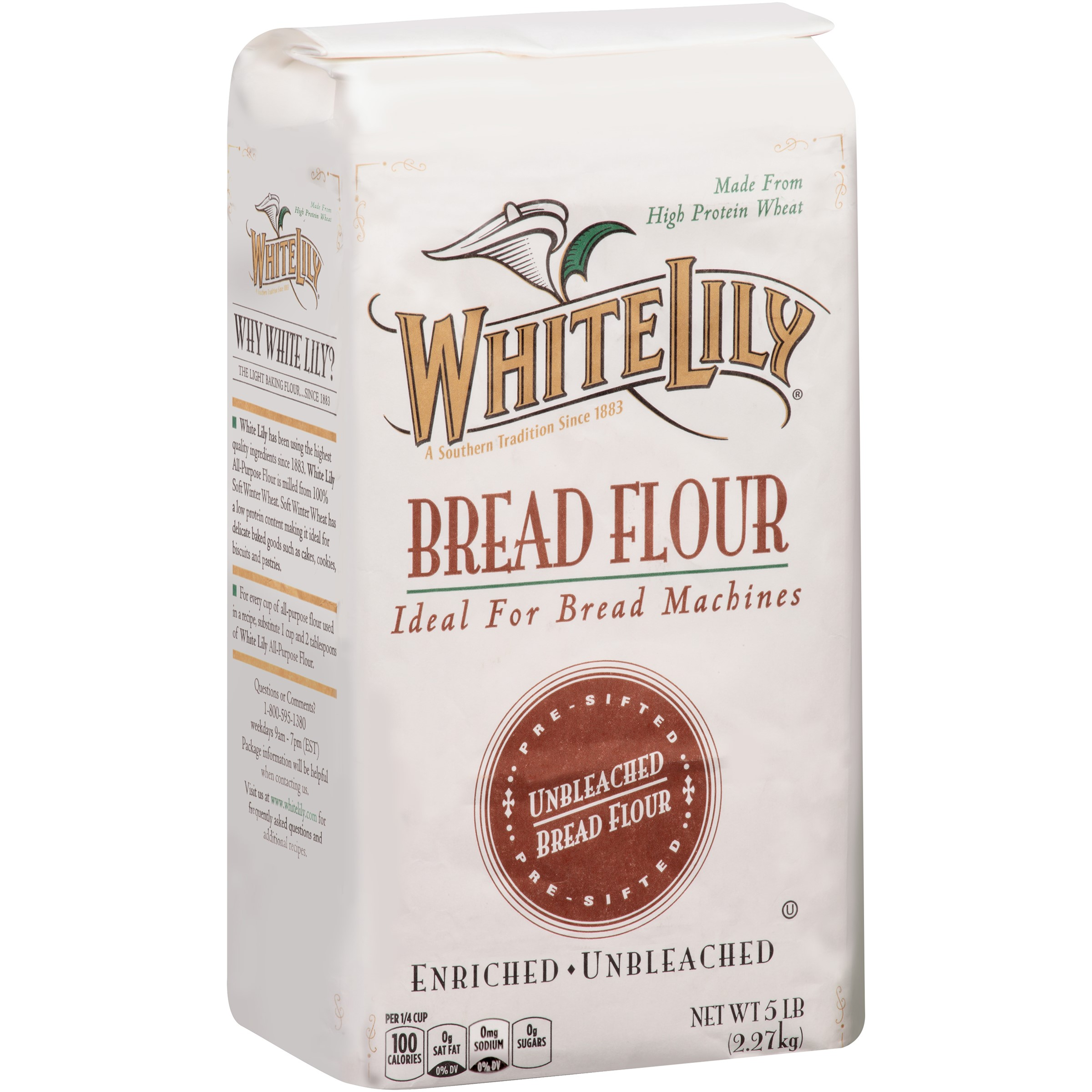 White Lily Unbleached Bread Flour, 80 oz
