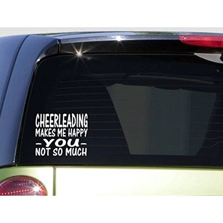 Cheerleading Makes Me Happy *I485* 6x6 inch Sticker decal cheerleader uniform (Cheerleading Uniforms For Kids)