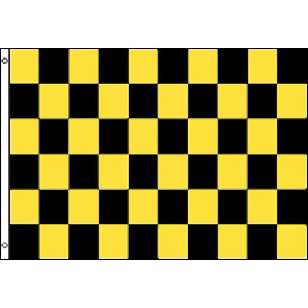 Black and Yellow Checkered Flag Advertising Banner Store Sign Party Pennant 3x5 - Checkered Flag Pennant Banner