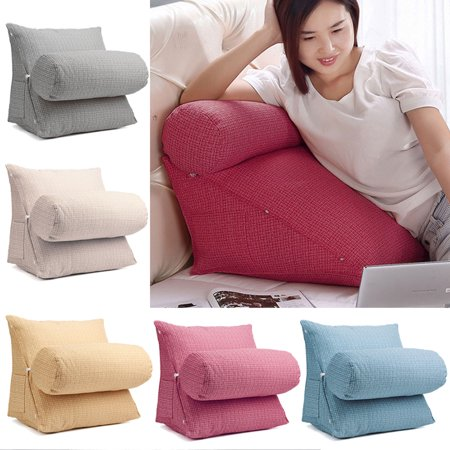 Adjustable Back Wedge Kids Children Cushion Pillow Sofa Bed Office Chair Rest Waist Neck Support With Phone Pouch