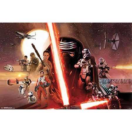 Star Wars Episode 7 Vii The Force Awakens Group Movie Poster Print Kylo 34X22