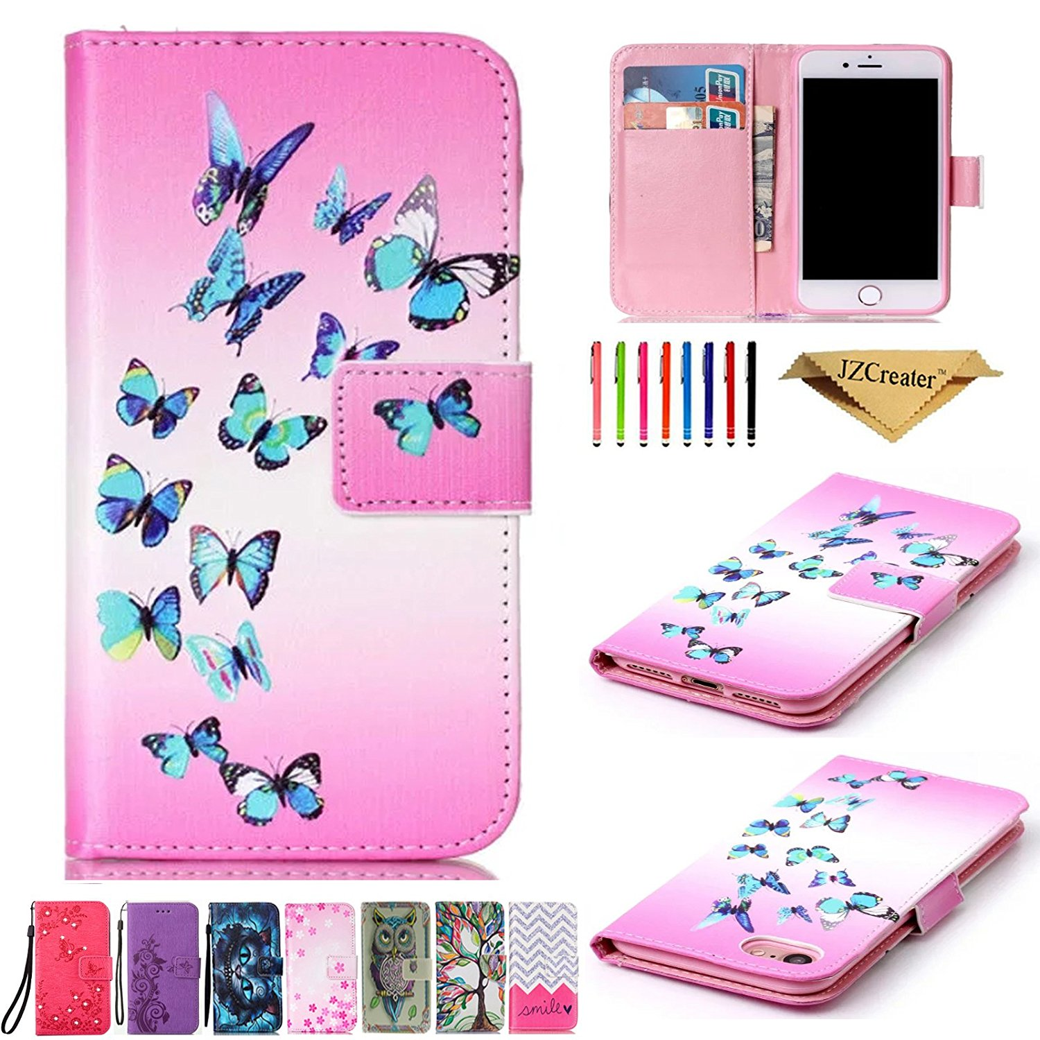 iPhone 7 Plus Case, iPhone 7 Pro PU Leather Case, JZCreater 3D Emboss Butterfly Premium PU Leather Flip Wallet Case Cover with Kickstand and Wrist Strap for iPhone 7 Plus/Pro 5.5inch, #Butterfly