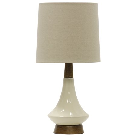 Ceramic Table Lamp - White Washed Wood/Cream Finish - White Hardback Fabric Shade