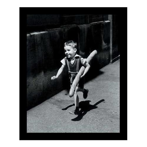 FRAMED Petit Parisian by Willy Ronis 12x9.5 Black and White Photograph Art Print Poster France Boy running with big loaf of Bread Vintage