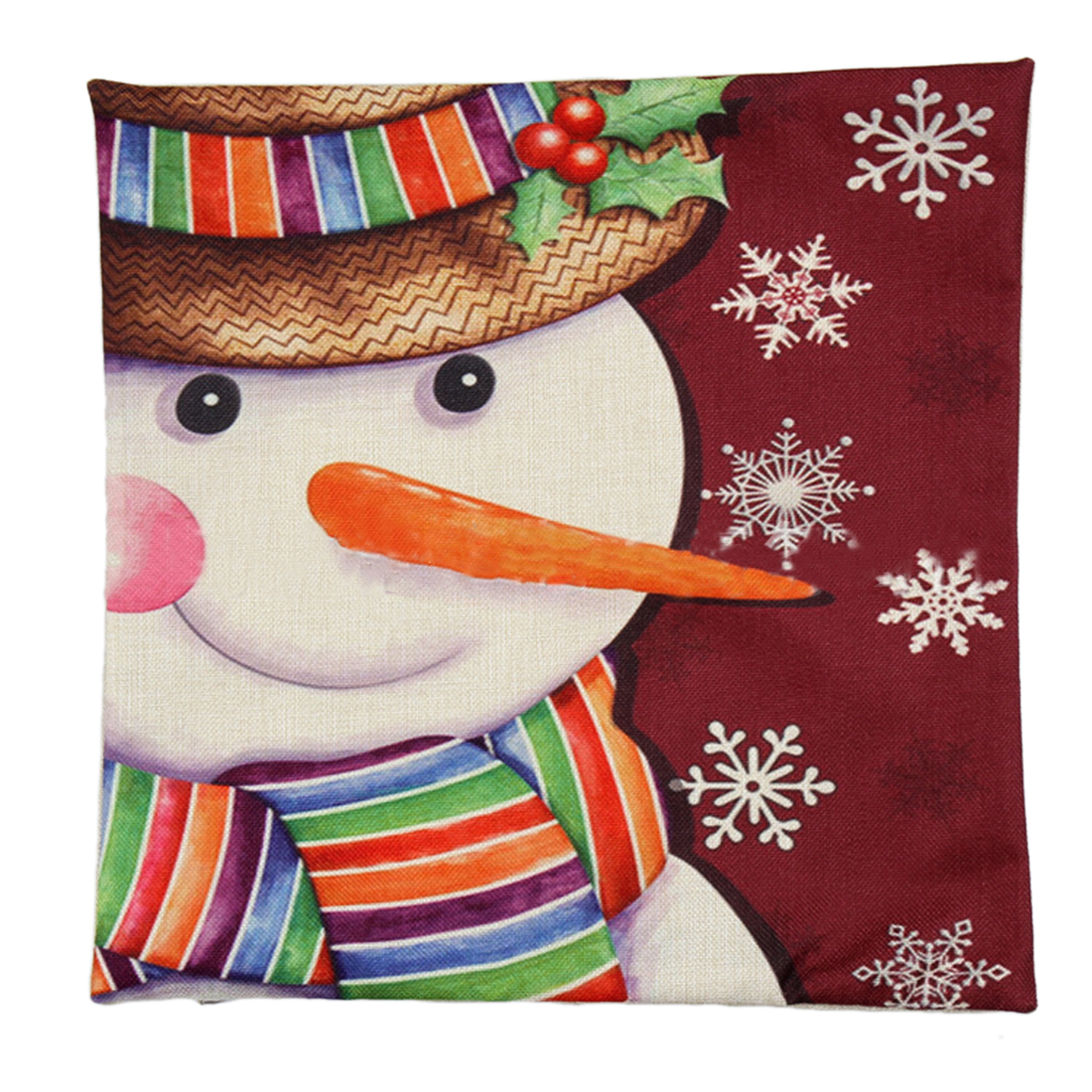 Piccocasa Linen Snowman Pattern Throw Cushion Cover Pillow Case
