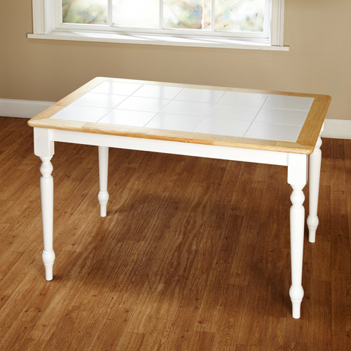 tara tile top table, white/natural - walmart