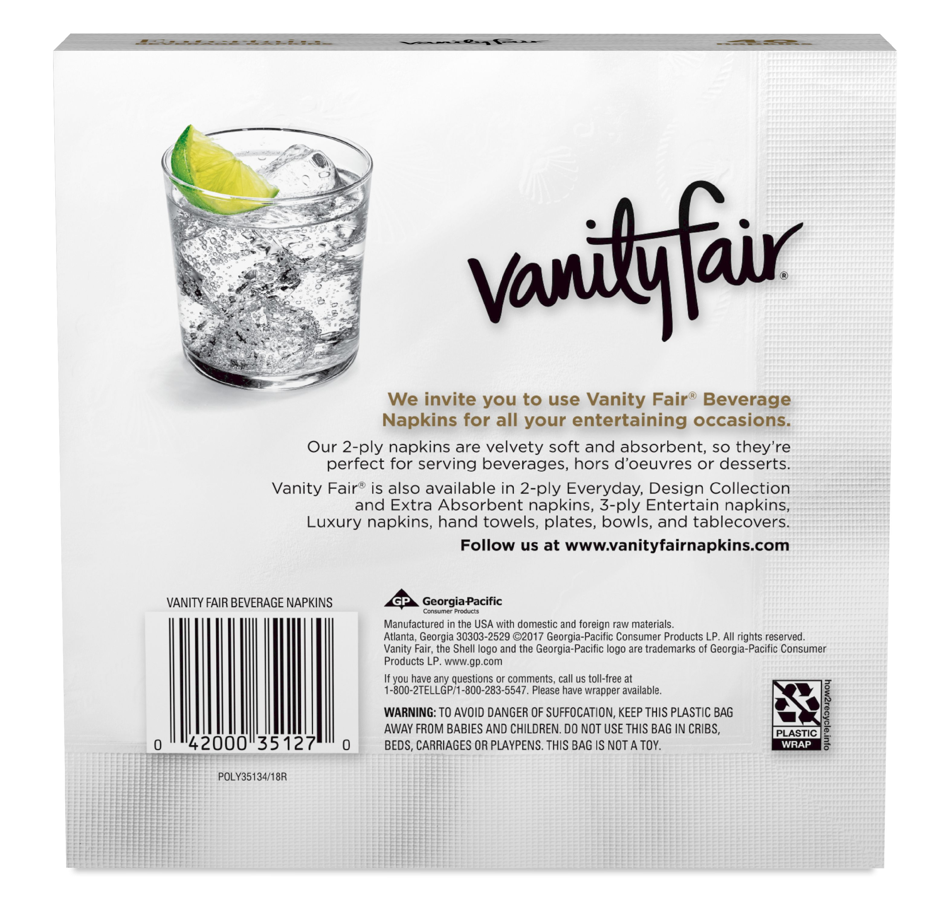 Vanity Fair Beverage Paper Napkins 2-ply White 40ct Image 2 of 5  sc 1 st  Walmart : vanity fair disposable plates - pezcame.com