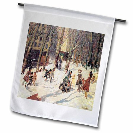 3dRose Winter High Bridge Park Polyester 1'6'' x 1' Garden Flag ()