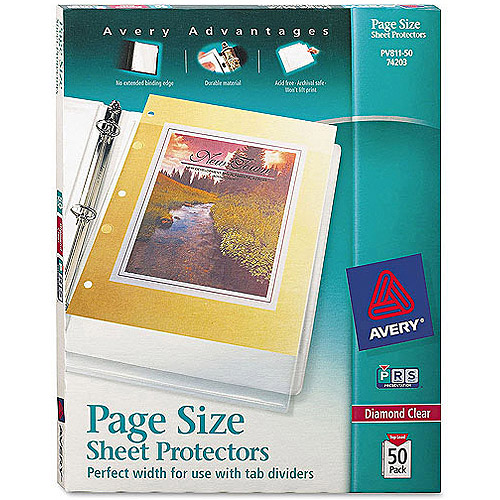 Avery Diamond Clear Page Size Sheet Protectors 74203, Acid Free, Box of 50
