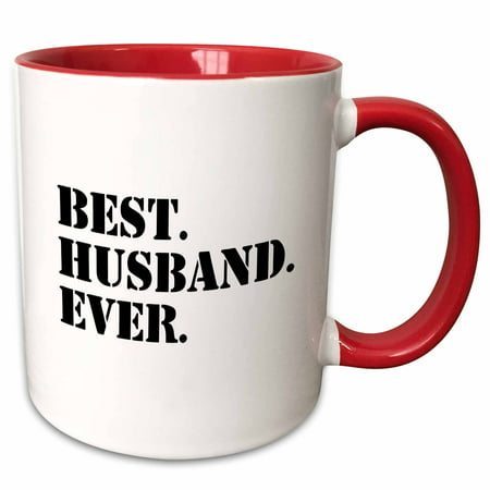 3dRose Best Husband Ever - Romantic love gift for him, Anniversary, Valentines Day - Two Tone Red Mug, 11-ounce