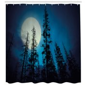 Dark Blue Shower Curtain, Low Angle View of Spooky Mysterious Forest with Tall Trees Big Full Moon, Fabric Bathroom Set with Hooks, 69W X 70L Inches, Blue Black White, by Ambesonne