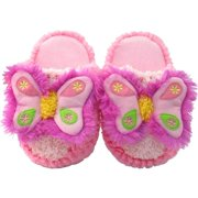 Kreative Kids Little Girls Pink Butterfly Shaped Plush Slippers 12 Kids