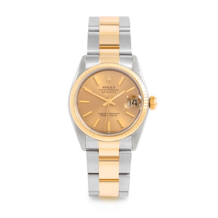 Pre Owned Rolex Datejust 6827 w/ Champagne Stick Dial 31mm Women's Watch (Certified Authentic & Warranty Included)